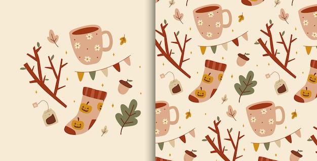 Ilustração fofa com elementos aconchegantes de outono