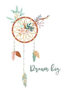 Ilustração fofa com penas tribais étnicas do apanhador de sonhos, decoração floral estilo escandinavo