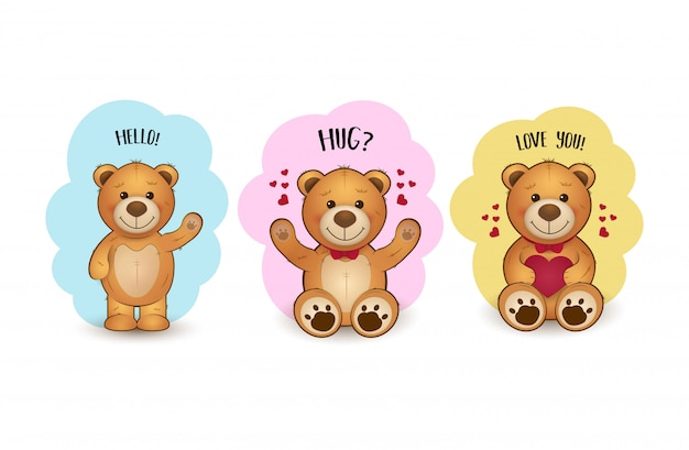 Ilustração fofa com ursos