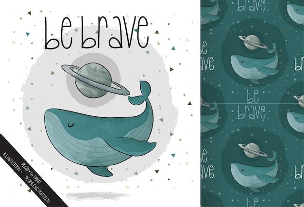 Ilustração fofa de baleia com planeta no espaço