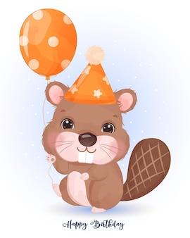 Ilustração fofa de castor na decoração de festa de aniversário