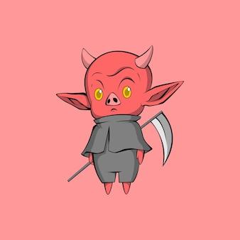 Ilustração fofa de demônio bravo