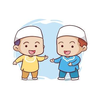 Ilustração fofa de duas crianças muçulmanas