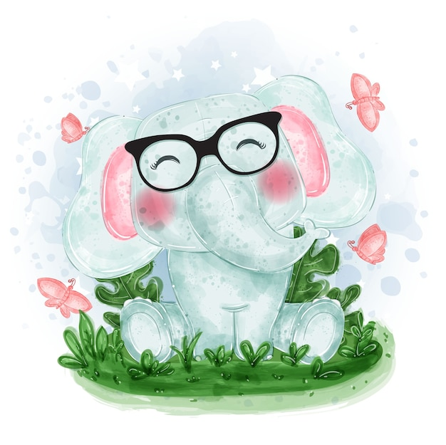 Ilustração fofa de elefante sentado na grama com uma borboleta