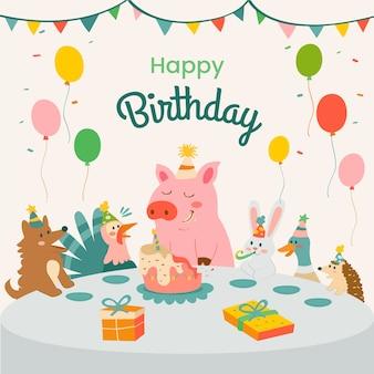 Ilustração fofa de feliz aniversário com porco