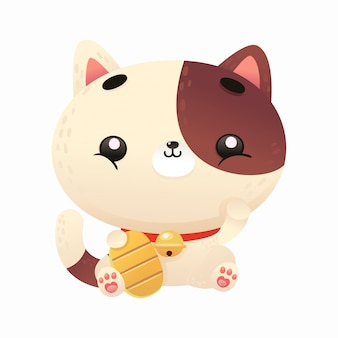Ilustração fofa de gato da sorte