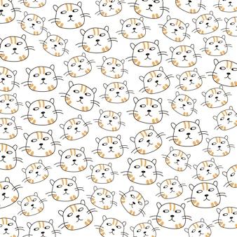 Ilustração fofa de gato de cabeça perfeita