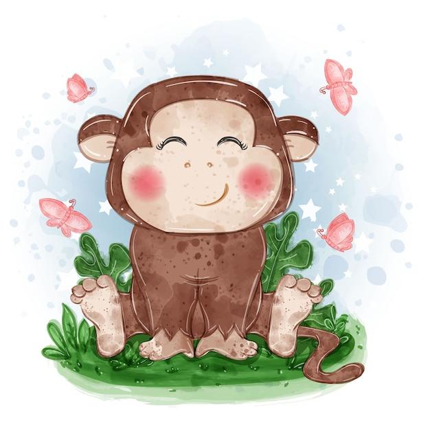 Ilustração fofa de macaco sentado na grama com uma borboleta