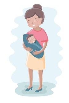 Ilustração fofa de mãe e bebê