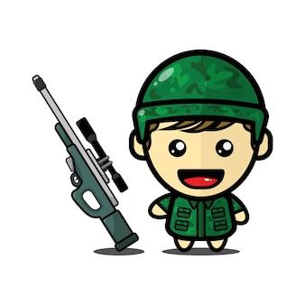 Ilustração fofa de menino soldado com arma de atirador