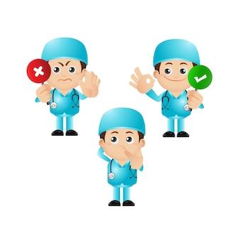 Ilustração fofa de personagens médicos