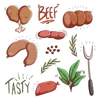Ilustração fofa de salsicha e carne com estilo doodle colorido