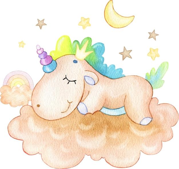 Ilustração fofa de um unicórnio engraçado dormindo em uma nuvem com estrelas pintadas em aquarela