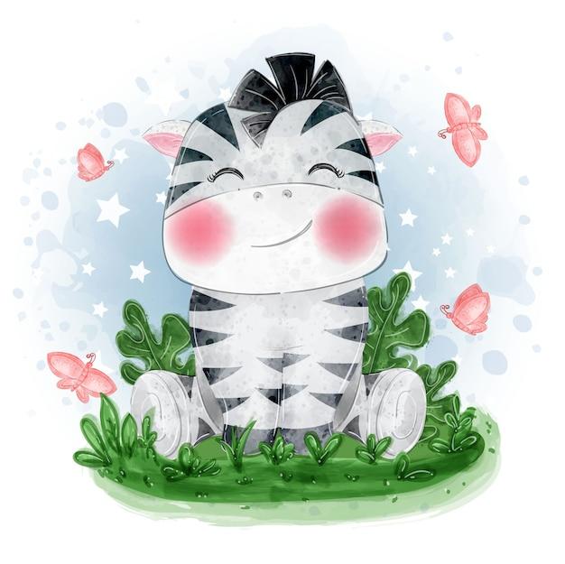 Ilustração fofa de zebra bebê sentada na grama com uma borboleta
