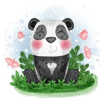 Ilustração fofa do bebê panda sentar na grama com uma borboleta