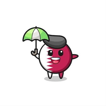 Ilustração fofa do emblema da bandeira do qatar segurando um guarda-chuva, design de estilo fofo para camiseta, adesivo, elemento de logotipo