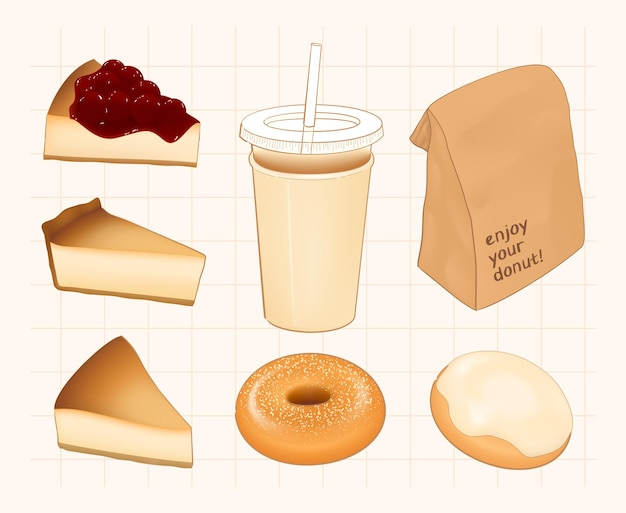 Ilustração fofa do menu da cafeteria de fatias de bolo donut e café