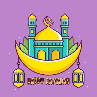 Ilustração fofa do ramadã feliz com mesquita na lua