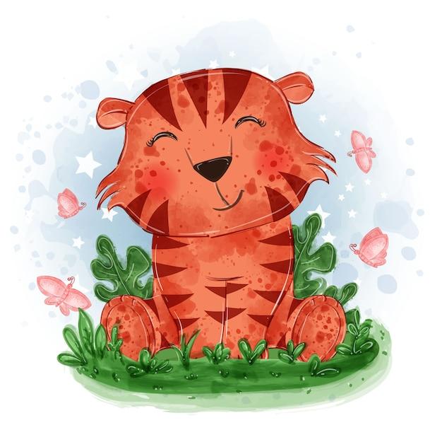 Ilustração fofa do tigre bebê sentado na grama com uma borboleta