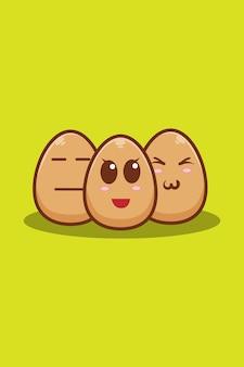 Ilustração fofa dos desenhos animados de três ovos