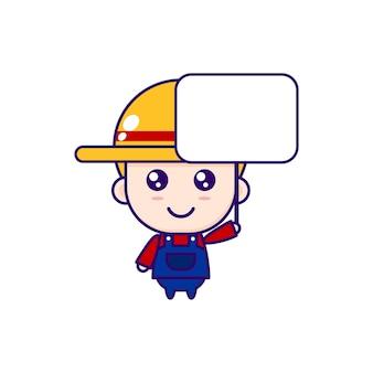 Ilustração fofa dos desenhos animados do chibi farmer vector design