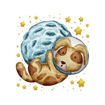 Ilustração fofa em aquarela de cachorro e lua