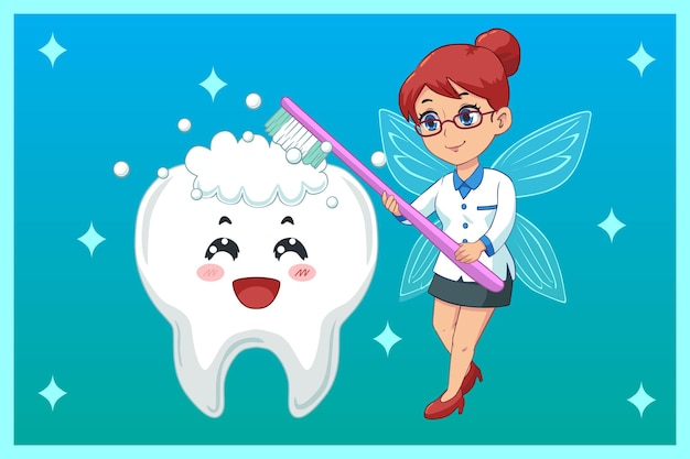 Ilustração fofa, fada do dente escovando os dentes
