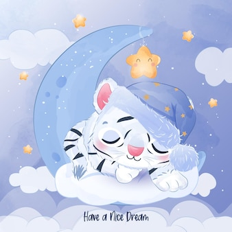 Ilustração fofinho do tigre branco dormindo