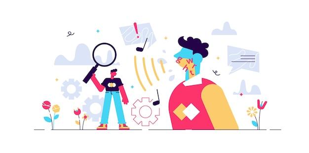 Ilustração fonética. minúscula pessoa de sons linguísticos. processo de estudo dos ramos articulatório, acústico e auditivo. aprendizagem da caracterização gramatical da linguagem educacional