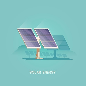 Ilustração. fontes alternativas de energia. energia verde. painel solar.