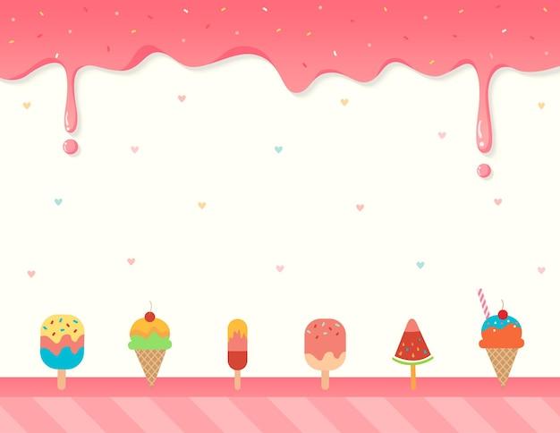 Ilustração fundo rosa do molde do menu do sorvete