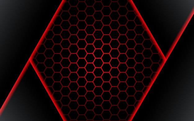 Ilustração futuirstic preta abstrata do vetor do fundo do projeto da tecnologia da luz vermelha do polígono. - vetor