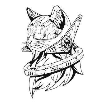 Ilustração futura do gato e design do tshirt