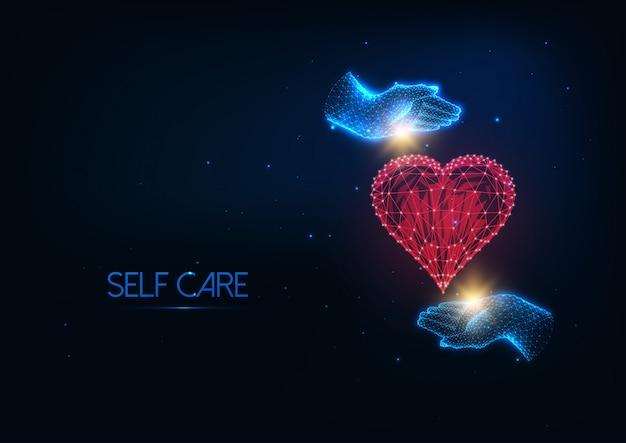 Ilustração futurista de auto-cuidado com brilhantes mãos poligonais, abraçando o coração vermelho