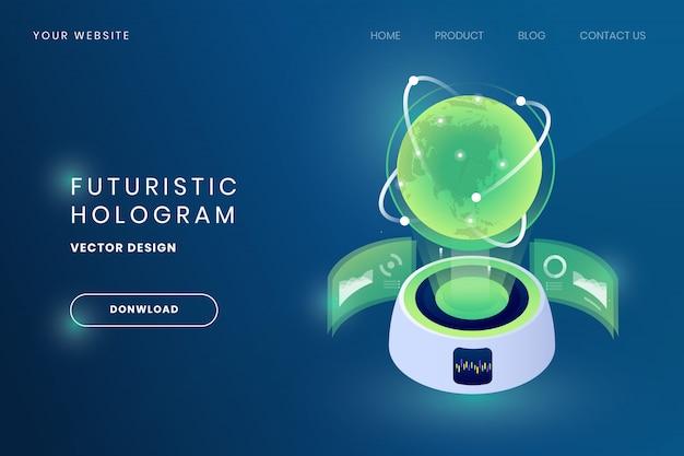 Ilustração futurista do holograma do globo