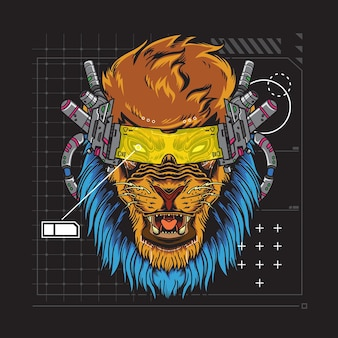 Ilustração futurística do leão cyberpunk
