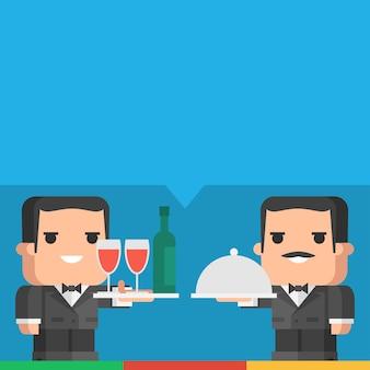Ilustração, garçom segurando a bandeja de bebidas e refeição, formato eps 10