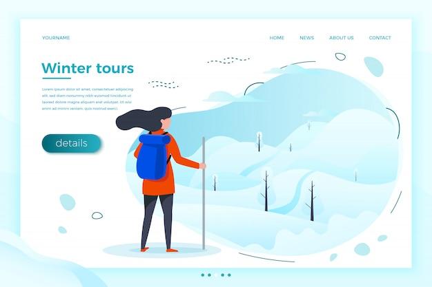 Ilustração, garota de turista de inverno olhando na montanha para subir. florestas, árvores e colinas