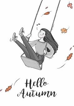 Ilustração garota em um balanço outono