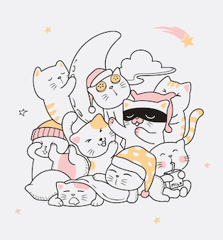 Ilustração gato dormir doodle