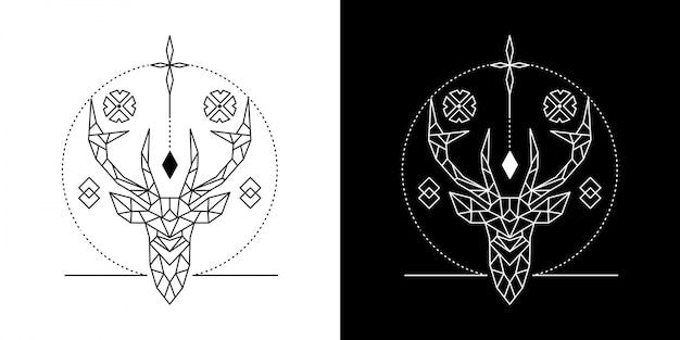 Ilustração geométrica de cabeça de veado