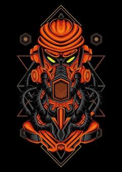 Ilustração geométrica do robô mecha vermelho