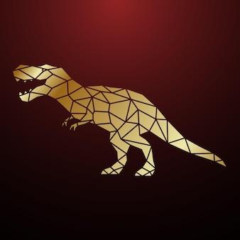 Ilustração geométrica dourada do dinossauro tiranossauro