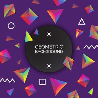Ilustração geométrica vibrante do fundo.