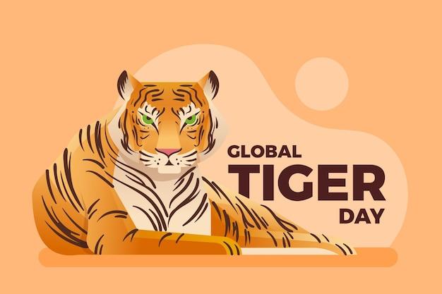 Ilustração global gradiente do dia do tigre