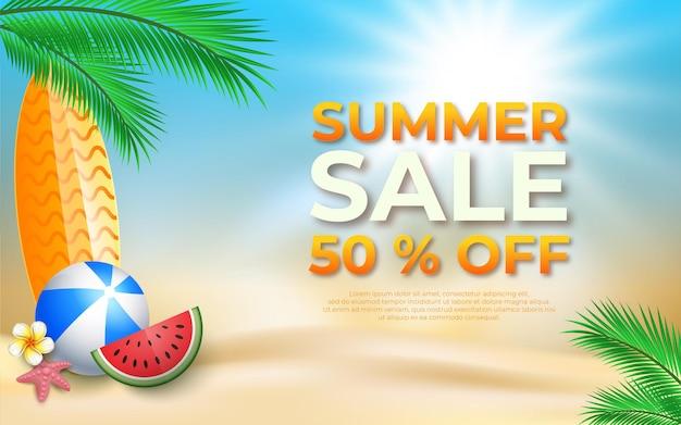 Ilustração gradiente de banner de venda de verão