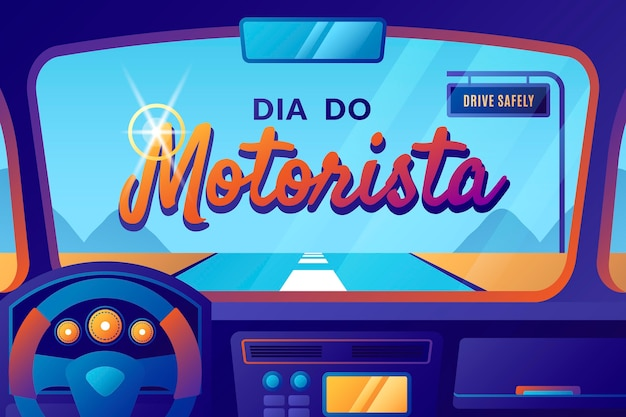 Ilustração gradiente dia do motorista