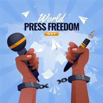 Ilustração gradiente do dia mundial da liberdade de imprensa
