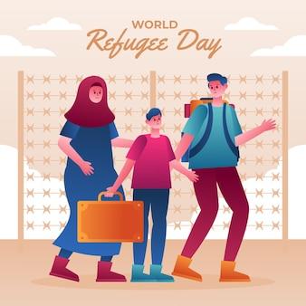 Ilustração gradiente do dia mundial do refugiado