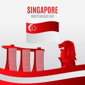 Ilustração gradiente do dia nacional de singapura